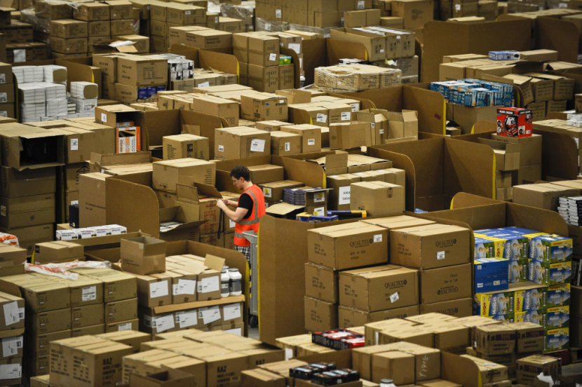 amazon warehouse full of boxes
