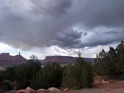 desert landscape with storm clouds