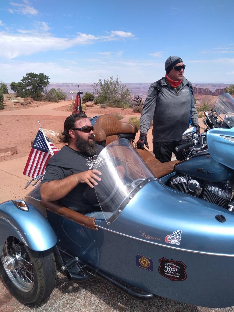 amputee veteran riding in motorcycle sidecar
