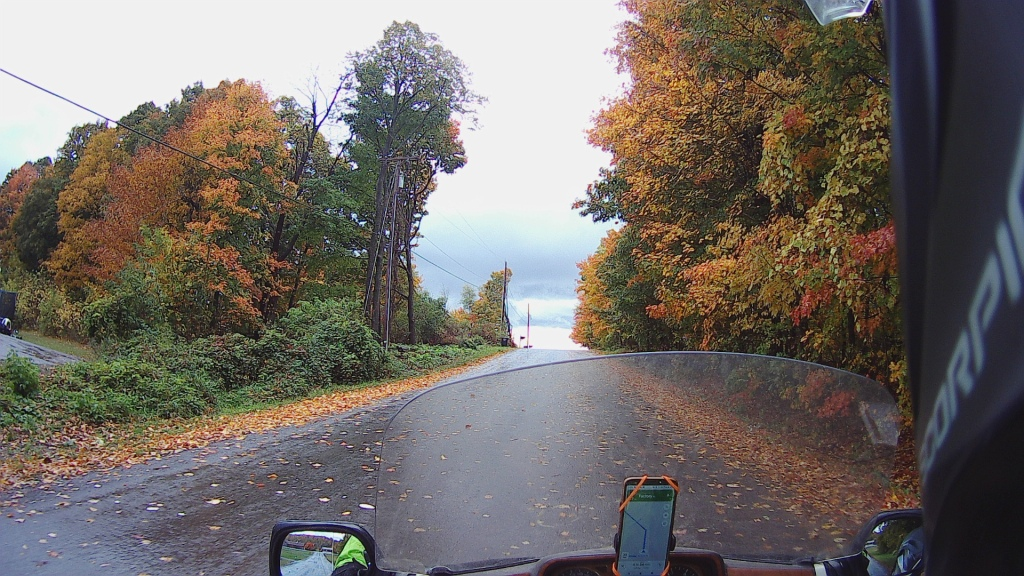 motorcycle rain road fall leaves color
