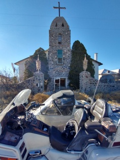 abandoned church with motorcycle sidecar